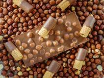 Chocolat de noisette sur des noisettes et des gaufrettes Photo libre de droits