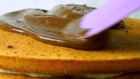 Chocolat de versement au-dessus du gâteau, vidéo de plan rapproché clips vidéos