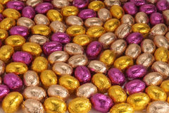 Chocolat easter eggs. With coloured wrappings Stock Images