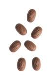 Chocolat en baisse avec des amandes sur le fond blanc image stock