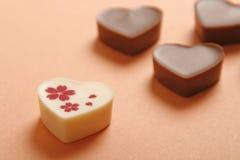 Chocolat en forme de coeur Photos stock