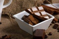 Chocolat et épice Photos stock