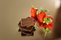 Chocolat et fraise Photo stock