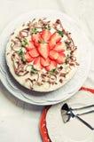 Chocolat et fraises blancs image stock
