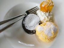 Chocolat et glace à la vanille Image stock