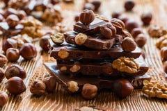 Chocolat et noix Images libres de droits