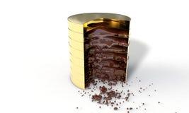 Chocolat et pièces de monnaie du fond, 3d illustration stock