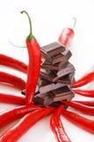 Chocolat et poivre foncés Photo stock