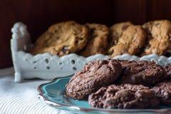Chocolat fait maison, biscuits de puce de chocolat Image libre de droits
