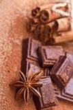 Chocolat foncé coupé avec du cacao Image stock