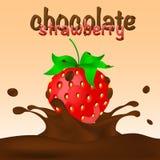 Chocolat - fraise plongée avec l'éclaboussure Images stock