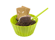 Chocolat ice-cream in a cup with a spoon Royalty Free Stock Photography