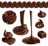 Chocolat, le beurre de cacao et crème fouettée illustration libre de droits