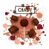 Chocolat Lolly Dessert Colorful Icon Choose de sucrerie votre affiche de café de goût Image libre de droits