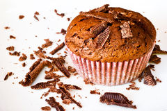 Chocolat muffin with chocolat slices Royalty Free Stock Image