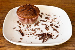Chocolat muffin with chocolat slices Stock Photo