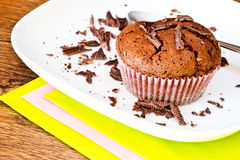Chocolat muffin with chocolat slices Royalty Free Stock Photo