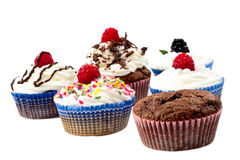 Chocolat muffins whit whipped cream and rapsberry Stock Photos