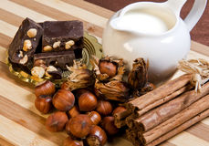 Chocolat nougat, nuts, milk and cinnamon Stock Image