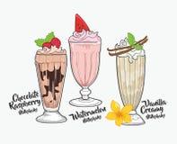 Chocolat, pastèque et vanille de milkshake Photo stock