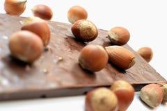 Chocolat savoureux avec des noisettes Image stock