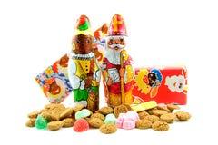 Chocolat Sinterklaas et Peter noir photos libres de droits