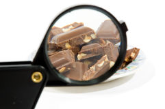 Chocolat sized up by a magnifying-glass Stock Image