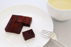 Chocolat sucré fabriqué à la main délicieux avec du thé vert Image libre de droits