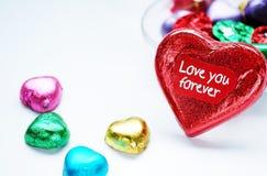 Chocolat Valentine de coeur d'amour dans la couleur douce Photos stock