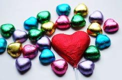 Chocolat Valentine de coeur d'amour dans la couleur douce Photos libres de droits