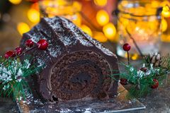 Chocolat Yule Log images stock