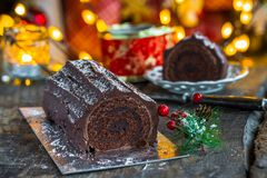 Chocolat Yule Log image libre de droits