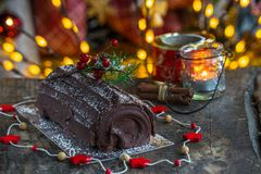 Chocolat Yule Log photos libres de droits