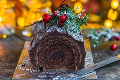 Chocolat Yule Log photographie stock libre de droits