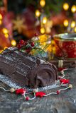 Chocolat Yule Log photo stock