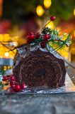 Chocolat Yule Log image stock