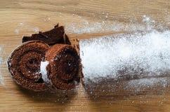 Chocolat Yule Log Cake de Noël d'en haut photographie stock libre de droits