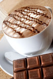 Chocolate. Hot chocolate with bar serve in hot Royalty Free Stock Image