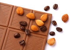 Chocolate. And ingredient on white background Royalty Free Stock Images