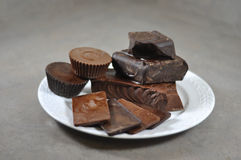 Chocolate. Plate Full of Dark and Milk Chocolate Raw Bars stock images