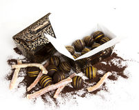 Chocolate. The chocolate isolated on a white background Royalty Free Stock Photography