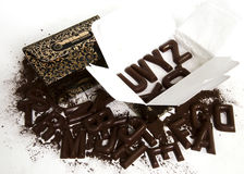 Chocolate. The chocolate isolated on a white background Royalty Free Stock Images