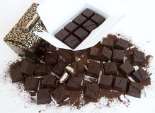 Chocolate. The chocolate isolated on a white background Stock Photos
