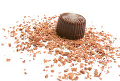 Chocolate. And  chips on a white background Stock Image