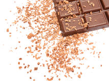 Chocolate. Bar and  chips on a white background Stock Image