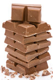 Chocolate. Chocolate  blocks stacked on white background Stock Images