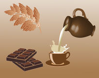 Chocolate. Milk and chocolate. Vector illustration Royalty Free Stock Photo