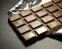 Chocolate. Slice of dark Stock Images