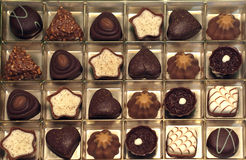 Chocolate. A collection of assorted swiss chocolate pralines Stock Images