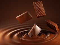 Chocolate. Dropped into hot Royalty Free Stock Image